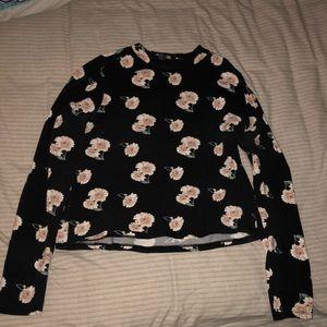 plus size long sleeve floral crop top